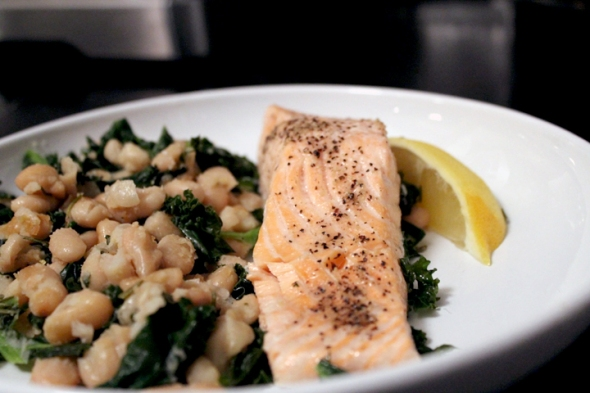 salmon and kale and beans