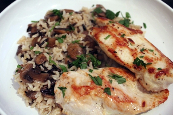 Chicken cutlets_ rice and mushrooms