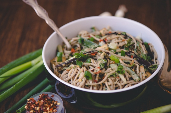 Sesame Soba Noodles with Cucumbers and Roasted Eggplant