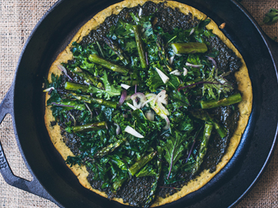 Socca Pizza with Pesto and Kale