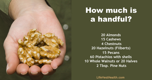 how many calories are there in a handful of cashew nuts