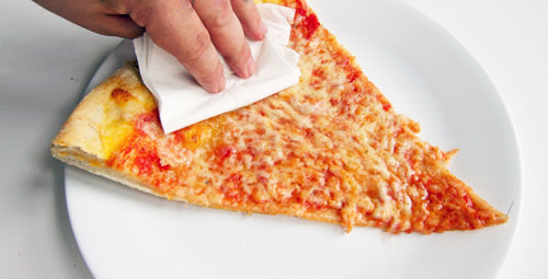 Blot pizza grease