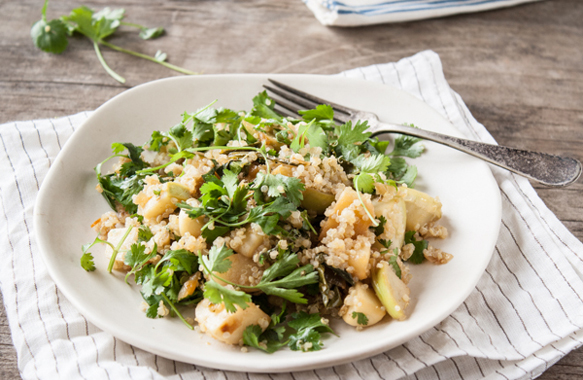 Miso Glazed Turnips and Kohlrabi Quinoa Salad