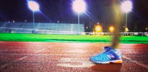Running on track at night