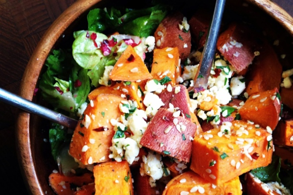 Sweet Potatoes with Sesame and Goat Cheese